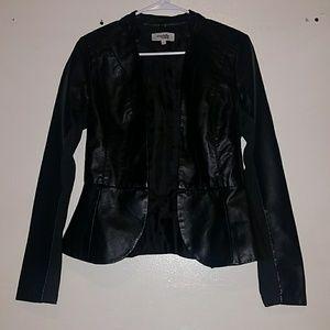 Black Peplum Faux Leather Jacket